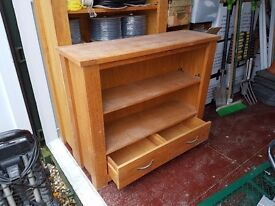 Solid wood bookshelf and two drawer cabinet