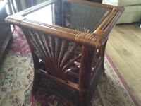 Wicker Westbury square side table in good condition.