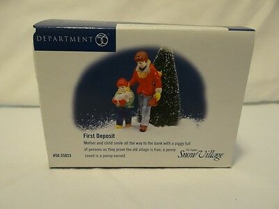 Dept 56 Snow Village First Deposit Figurine 55023 Mother Child Piggy