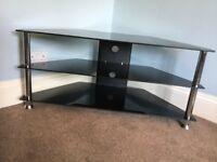 Black & Chrome TV Stand / TV Unit Height 19in/48cm Width 31.5in/80cm Depth 16in/40cm