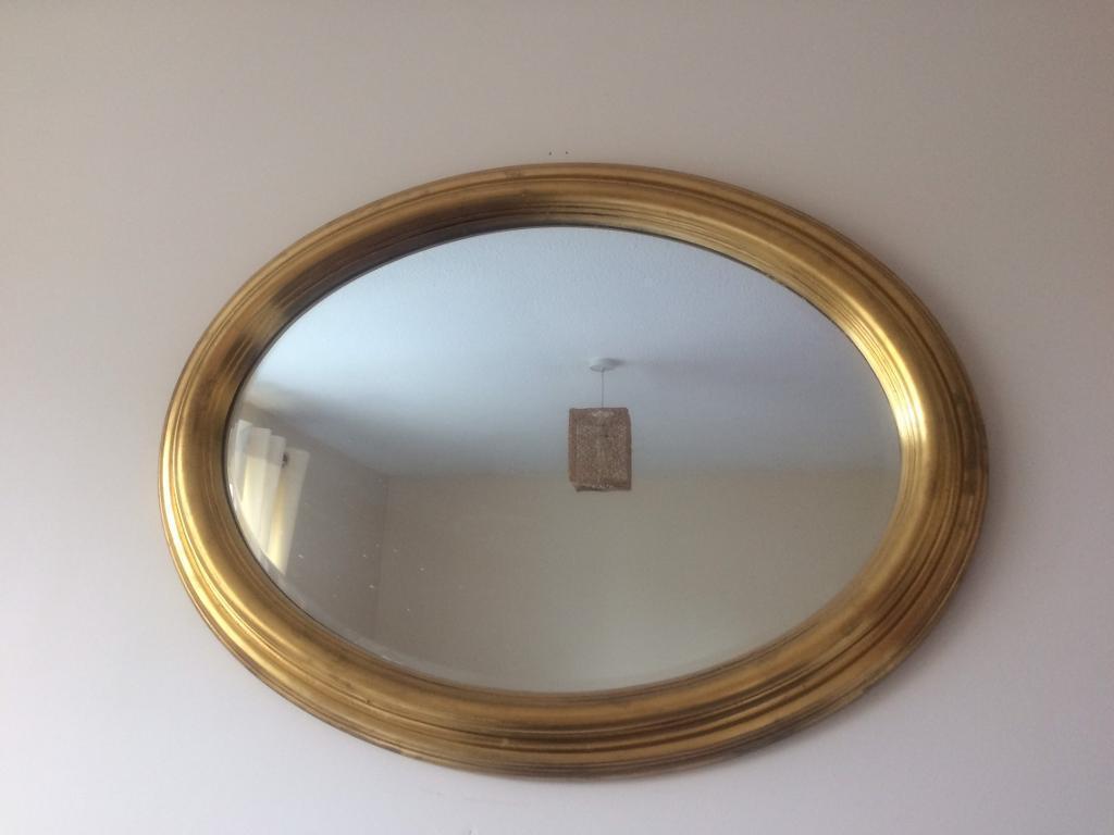 oval gold wall mirror 32 inch x 23 inch in billingham
