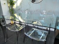 Glass & chrome dining table 4 x Chairs