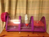 Purple triangle Hamster/Gerbil/Mouse cage with build in wheel and water bottle. £15