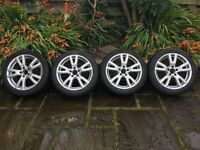 """Genuine Mercedes C class 17"""" alloy wheels and winter tyres"""