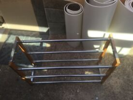 Metal tubular shoe rack with wooden ends