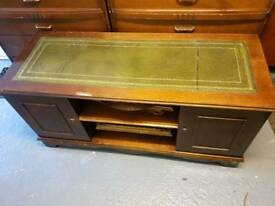 Tv Unit with Green Leather Top