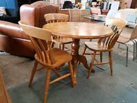 Dropleaf round pine table and 3 chair set