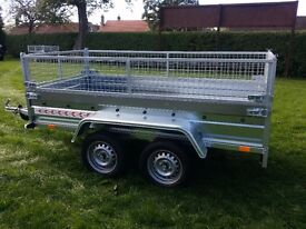 Car trailer 8.7 x 4.1 twin axle-build,side and mesh 1100 inc vat certificate for left-hand traffic