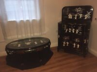 Beautiful black antique Chinese mother of pearl cocktail cabinet/drinks bar with matching table