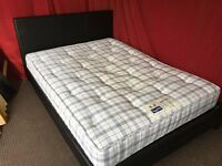 BLACK FAUX LEATHER DOUBLE BED WITH SLUMBERLAND MATTRESS,CAN DELIVER
