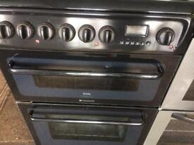Black cannon 60cm gas cooker grill & double fan assisted ovens with guarantee