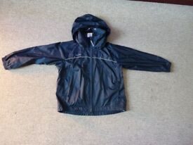 Boys navy blue rain jacket pack away ~ 6 years ~ Decathlon Quechua waterproof