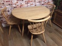 Beautiful Ercol drop leaf table with 3 Ercol candlestick chairs