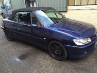 peugeot 306 cabriolet 2.0 petrol! t reg-1999! SPARES OR REPAIRES! NO TAX OR MOT!!!