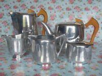 Vintage 1950s/60s 'Piquot Ware' stainless steel tea/coffee set