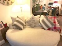 2 white/cream sofas for sale, 1 three seater and one giant cuddler couch