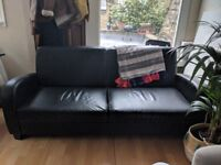 Stylish Comfortable Black Faux Leather 3 Seater Sofa Good Condition Delivery Possible