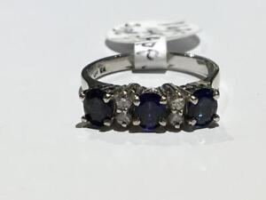 #1685 14K SAPPHIRES AND DIAMOND RING *SIZE 7* JUST BACK FROM APPRAISAL AT $3100.00 SELLING FOR ONLY $795.00