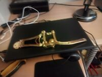 Chinese Bigsby Tremelo unit in gold, brand new for Right handed Archtop guitar.