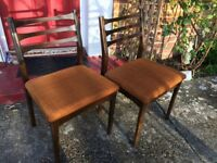 3 solid wood 1970's dining chairs