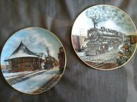 "RAILWAY  COLLECTOR PLATES ""ORANGEVILLE STATION & RETIRED LADY"""