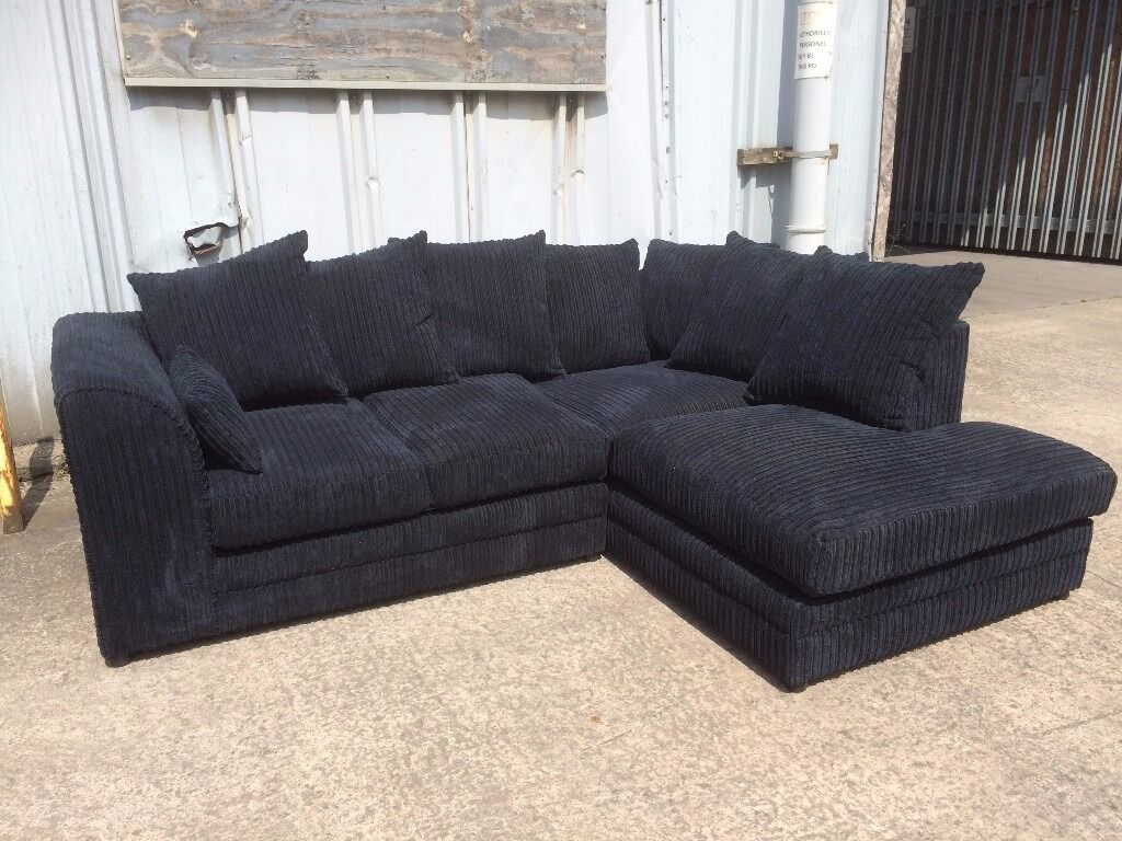 Black jumbo cord corner sofa with left hand chaise effect for Cord sofa 70er