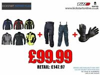 GREAT DEAL AT KICKSTART TEXTILE MOTORCYCLE JACKET AND TROUSERS AND GET FREE MATCHING GLOVES £99.99