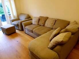Corner Sofa, Armchair and Footstool