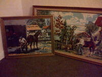 Two Vintage Hand Made Original Tapestries. Early 80's. Depicting Horses.