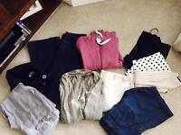 Batch of ladies clothes linen trousers tops jeans size 12