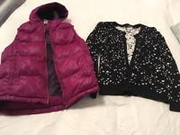 Girls padded gilet/ body warmer and cardigan. Both aged 12 years.