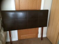 Double Headboard Faux leather Brown