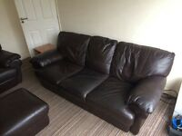 Sofa (3 seater) Italian brown leather