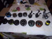 Selection of fishing reels some were purchased recently and some years ago