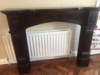 Mahogany and marble fireplace. PRICE DROP