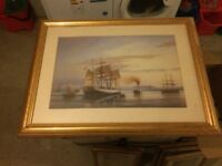 Ship Painting with Gold Frame