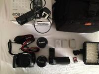 Canon eos 550d, 50mm len,18-55mm low pro bag and more