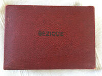 Vintage Bezique and Rubicon Bezique game set in dark red leather-effect box. COMPLETE. £8 ovno.