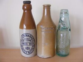 WANTED: OLD BOTTLES, FLAGONS, SODA SIPHONS, POSTCARDS, CRESTED CHINA ETC