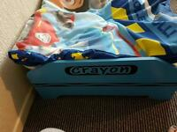 Crayon toddler bed and memory foam mattress