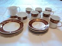 ELIZABETHAN BURGUNDY FINE BONE CHINA TEA / COFFEE SET. EXCELLENT CONDITION.