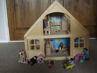Wooden Dolls House with Furniture & Dolls