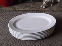 x6 Hotel Quality White Oval Porcelain Plates - vgc.