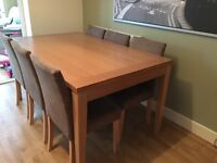 Dining table with six chairs oak effect