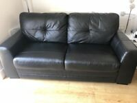 Black Leather 2 Seater Sofa and a Black Leather Armchair