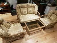 Conservatory cane furniture - sofa plus table