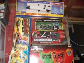 Telescope, Tin Can Alley Game, Metal Detector, TV Skateboard Game and Power Rangers Laser game