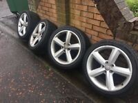 Audi S Line Alloys Genuine 5x112 fit ment 2 new tyres 2 very good tyres bargain
