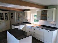 kitchen units, handmade, solid wood/MDF, handpainted, granite worktops&island