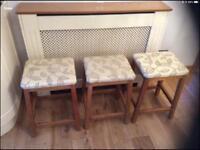 3 Set of retro solid wooden stools
